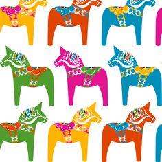 Dala Horse (Polychrome) fabric by nekineko on Spoonflower - custom fabric Scandinavian Quilts, Scandinavian Style, Horse Template, Swedish Style, Swedish Design, Cool Patterns, Textures Patterns, Print Patterns, Horse Quilt