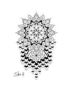 Simple Mandala Tattoo, Mandala Arm Tattoos, Mandala Tattoo Sleeve, Boho Tattoos, Leg Tattoos, Tattoos For Guys, Geometric Tattoo Pattern, Geometric Mandala Tattoo, Geometry Tattoo