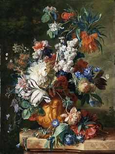 """Bouquet of Flowers in an Urn"" by Jan van Huysum. Painted in 1724. Oil on canvas. Los Angeles County Museum of Art, Los Angeles"