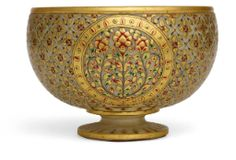 An alabaster footed-bowl with gold decoration in the Mughal style, 20th century