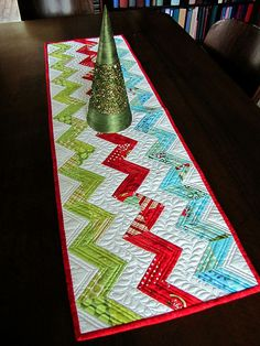 simple chevron runner with fabulous feather quilting