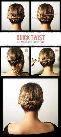 Updo Hairstyles for Short Hair - Quick Twist. I think for my hair a claw with a flower on it will do better than just a pin.