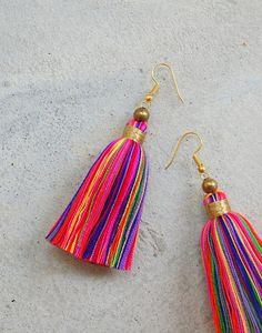 Multi Colored Tassel Earrings with Gold Beads Glamour Multi Color Tassel Earrings with Gold Beads Beaded Tassel Necklace, Tassel Jewelry, Fabric Jewelry, Beaded Jewelry, Handmade Jewelry, Dyi Earrings, Silk Thread Earrings, Thread Jewellery, Diy Tassel