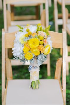 Yellow flowers - love wrapped stems!