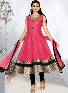 Pink Chanderi Plus Size Anarkali
