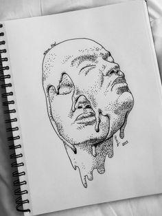 Dark Art Drawings, Art Drawings Sketches, Stippling Art, Psychedelic Drawings, Hippie Art, Pen Art, Surreal Art, Art Sketchbook, Aesthetic Art