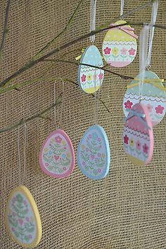 #Gisela #graham easter decoration #hanging easter egg pastel painted eggs 4 colou,  View more on the LINK: 	http://www.zeppy.io/product/gb/2/222027710838/
