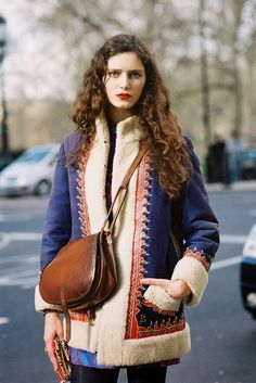"Vanessa Jackman: London Fashion Week AW 2013...Rosalind  ""I'm loving the saddle bag"""
