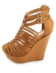 Closed Toe Strappy Platform Wedges: Charlotte Russe