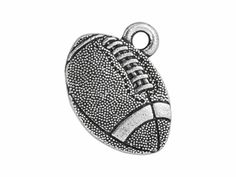 TierraCast Antique Silver-Plated Pewter Football Charm