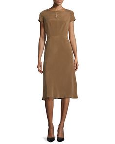 Raine Sueded Silk Keyhole Dress, Coconut by Lafayette 148 New York at Neiman Marcus.