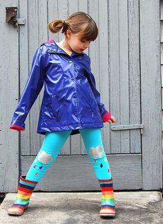 Leggings Silver Lining Clouds Rainbow Rain  Girls by thetrendytot, $29.00