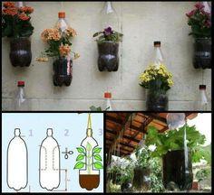 macetas colgantes hechas con botellas de plastico