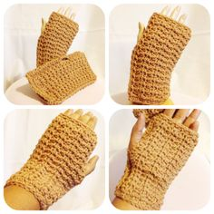 These beautifully textured Honeycomb Fingerless Mittens are an easy item to whip up and will be a great addition to your winter wardrobe. The mittens can be crocheted in 4 different sizes and comes with both the US and UK stitch versions. SKILL LEVEL - Easy MATERIALS H/5mm Crochet Hook Approx. 125 yds/114m Aran/Worsted Weight Yarn Yarn Needle to weave in ends MEASUREMENTS