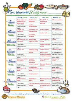 Proposte per il Menù della settimana e in omaggio la scheda per il menù settimanale di settembre/ottobre dove potete scrivere il vostro personale menù.