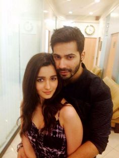 Alia Bhatt posed with Varun Dhawan for a picture in the corridors of Dharma Productions office. #Style #Bollywood #Fashion #Handsome #Beauty