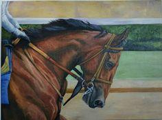 "American Pharoah Triple Crown winning race horse original oil painting 18×24"" in Sports Mem, Cards & Fan Shop, Fan Apparel & Souvenirs, Horse Racing   eBay"