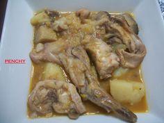 Conejo con setas en salsa de almendras