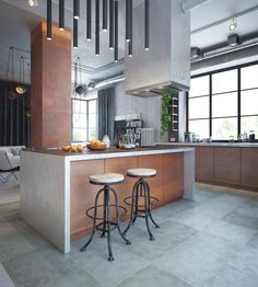 We all know Modern Apartment design is really suitable for our Apartment. You can learn from our article (Modern Apartment Decor With The Industrial and Warm Color Theme) and get some ideas for your Apartment design. Industrial Kitchen Design, Copper Kitchen, Industrial House, Industrial Restaurant, Industrial Windows, White Industrial, Industrial Apartment, Industrial Chair, Industrial Bedroom