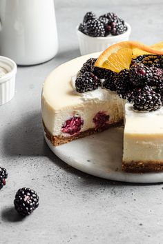 This Blackberry Vanilla Cheesecake is a silky smooth creamy and soft cheesecake loaded with some fresh blackberry giving it a surprising beautiful interior. Easy Cheesecake Recipes, Dessert Recipes, Cheesecake Cookies, Keto Cheesecake, Blackberry Cheesecake, Blackberry Recipes, Indian Cake, Almond Cakes, Baking Recipes