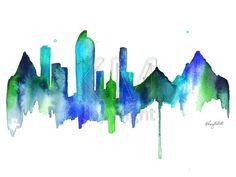 Denver Skyline print of original watercolor by KelseyMDesigns