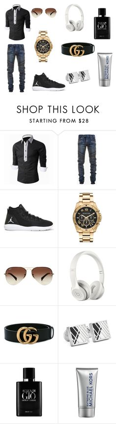 """""""Untitled #1"""" by thevipdude ❤ liked on Polyvore featuring Balmain, NIKE, Michael Kors, Ray-Ban, Beats by Dr. Dre, Gucci, Robert Graham, Giorgio Armani, men's fashion and menswear"""