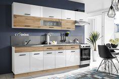 Moderná kuchynská linka CORAL je vyrobená v nadčasovom dizajne. Žiadané a moderné farebné kombinácie biely lesk a imitácia dreva, dáva tejto zostave unikátny vzhľad Kitchen Cabinets, Home Decor, Arch, Kitchen Design, Decoration Home, Longbow, Room Decor, Cabinets, Home Interior Design