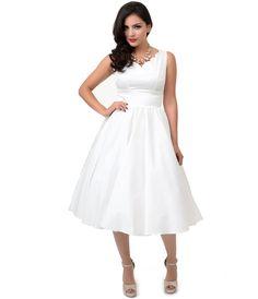 1950s Style Ivory Cotton Sateen Scallop Brenda Swing Dress $122.00 AT vintagedancer.com