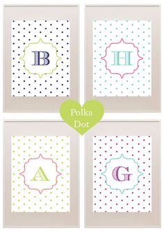 Free polka dot printable monograms