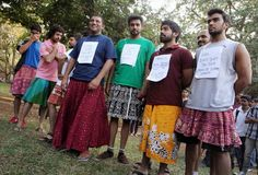 Rape protesters in India react to widespread comments about skirts being the cause of rape.