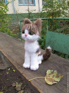 Серый кот - игрушка вязанная крючком - серый,кот,кошка,котенок,живой кот