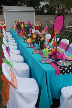 Pretty table at a Alice in Wonderland Party. #aliceinwonderland #partyideas See more party ideas at CatchMyParty.com.