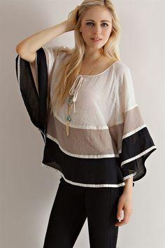 Color Block Cape Sleeve Blouse - Black