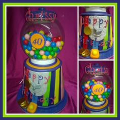 """Here is my gumball machine cake ...it stands 40cm in height and is a double barrel tapered 8"""" round cake."""