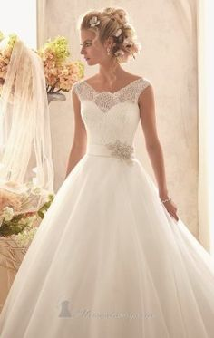 Chantilly Lace Tulle Gown by Bridal by Mori Lee 2607