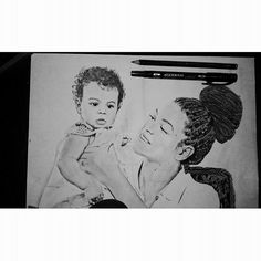 My quick drawing of @beyonce @itsHov and their sweety baby! #beyonce #JayZ