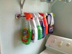 Use an IKEA Bygel rail to store spray bottles on a wall or in a cabinet. Use an IKEA Bygel rail to s Laundry Room Organization, Laundry Room Design, Storage Organization, Laundry Rooms, Storage Ideas, Mud Rooms, Laundry Table, Laundry Closet Makeover, Ikea Hack Storage