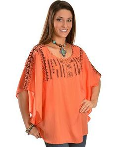 R Cinco Ranch Womens Olivia Embroidered Tunic: Poly-blend chiffon. Scoop neck collar. Tunic length. Open poncho-style sleeves. Low-cut back…
