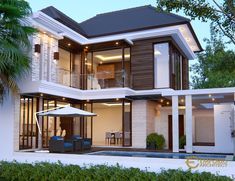 Rio Private House Design - Ciputat, Tangerang Selatan- Quality house design of architectural services, experienced professional Bali Villa Tropical designs from Emporio Architect. House Extension Design, House Front Design, Modern House Design, Dream House Exterior, Dream House Plans, Bali House, House 2, Modern Tropical House, Model House Plan