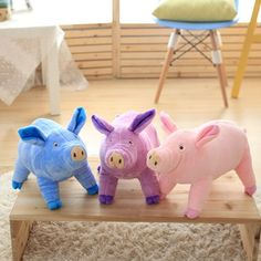 These three little piggies will make your little muffin's weekend more fun! Three Little Piggies, Plushies, Piggy Bank, More Fun, Make It Yourself, How To Make, Baby, Money Box, Stuffed Animals