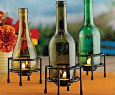 Enfeitando sua casa com #upcycle de garrafas de vinho! www.eCycle.com.br Sua pegada mais leve.