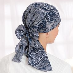 Cotton Head Scarves, Cancer Patient Head Scarves, Chemo Scarf, Head Wrap, Pre-tied Cancer Scarves - TLC