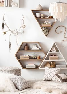 Love this! The neutral colors make it very warm and inviting! It's also a great way to use shelves and display all your books!                                                                                                                                                                                 More