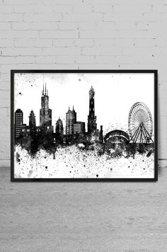 Chicago City Watercolor Skyline Wall Art Print   Chicago Watercolor Art    Abstract Watercolor Painting  X90