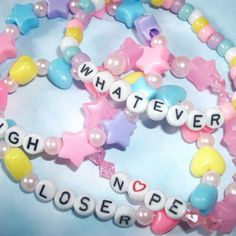 Set of 4 Sassy Pastel Bracelets / Kawaii from StarrySkiesOpenMind