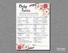 Baby Trivia Game Printable Boho Baby Shower Baby Trivia Game