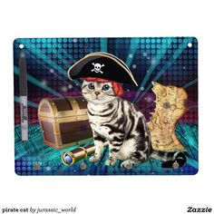 pirate cat dry erase board with keychain holder