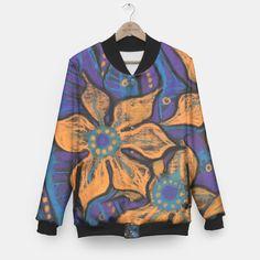 """Golden flower"" Baseball Jacket by ClipsoCallipso #purple, #orange, #black, #blue, #golden, #turquoise, #flowers, #flower, #floral, #art, #pastel, #pastels, #bright, #bold, #catchy, #saturated, #psychedelic, #bizarre, #fantastic, #fantasy, #wearableart, #wearingart, #clothes, #fashion, #streetwear, #jacket, #baseballjacket"