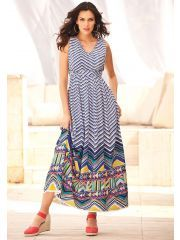 Denim 24/7 Plus Size Chevron Border Empire Waist Dress