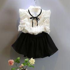 Toddler Girl Clothes Summer 2016 Girls Skirt Set Striped Flounced Shoulder Chiffon Top Shorts Skirt 2Pcs Set Girls Summer Sets